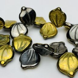 Leaf Czech Glass Beads, 12x14mm, Gold Blue Hematite