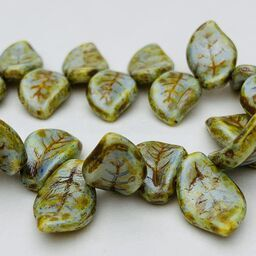 Leaf Czech Glass Beads, 10x14mm, Opaque Green
