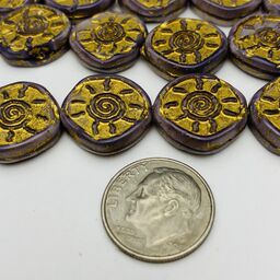 Sunburst Coin Table Cut Czech Beads, 15mm, Lilac w/ Gold Wash