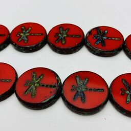 Dragonfly Coin Table Cut Beads, 17mm, Red