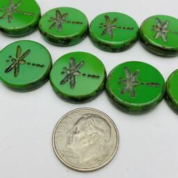 Dragonfly Coin Table Cut Beads, 17mm, Green