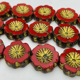 Hibiscus Flower Table Cut Czech Beads, 12mm, Red