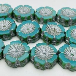 Hibiscus Flower Table Cut Czech Beads, 12mm, Turquoise