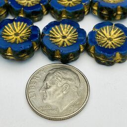 Hibiscus Flower Table Cut Czech Beads, 12mm, Royal Blue
