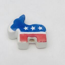 Large Democratic Donkey Peruvian Ceramic Bead