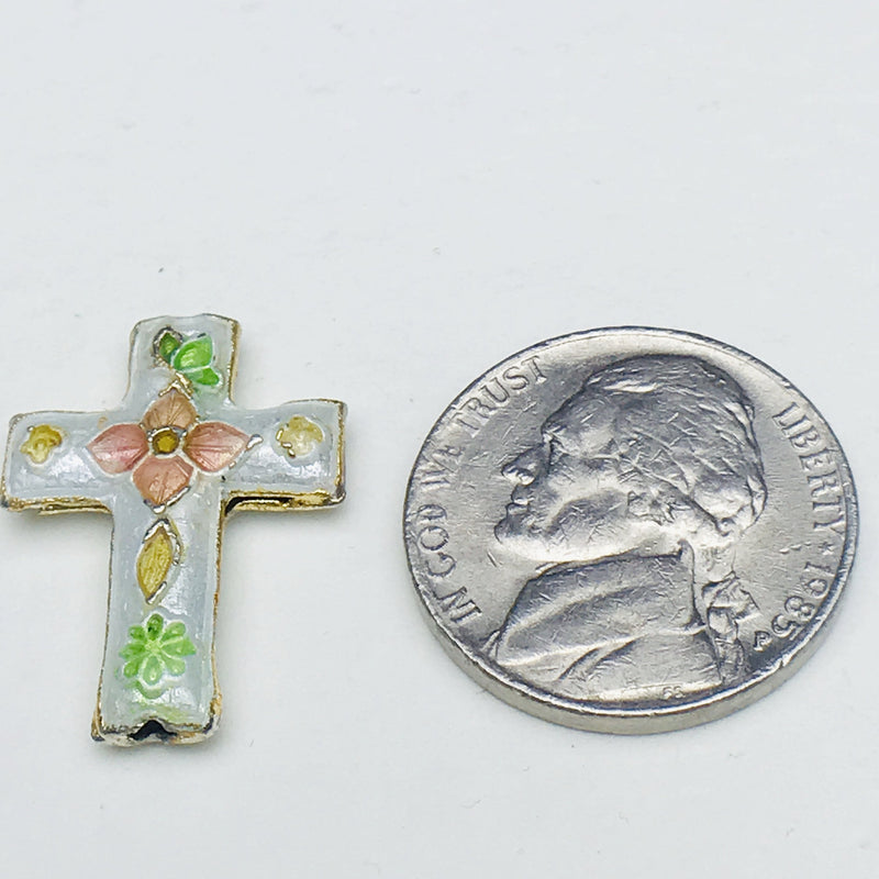 Cloisonne Cross Bead, Gray and Pink 23mm