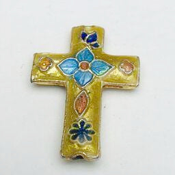 Cloisonne Cross Bead, Blue and Gold 23mm