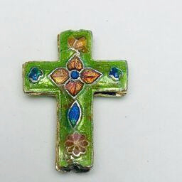 Cloisonne Cross Bead, Green and Orange 23mm