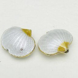 Cloisonne Shell Bead, Milky White 20mm