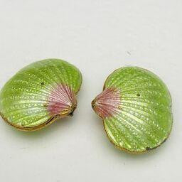 Cloisonne Shell Bead, Green 20mm