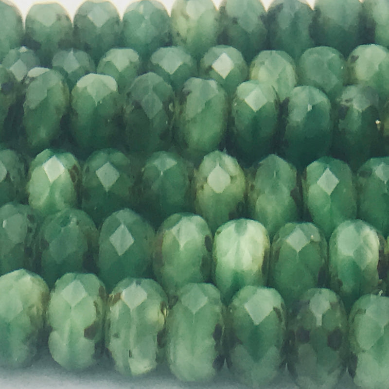 Rondelle Czech Glass Beads 6x9mm Shamrock Green