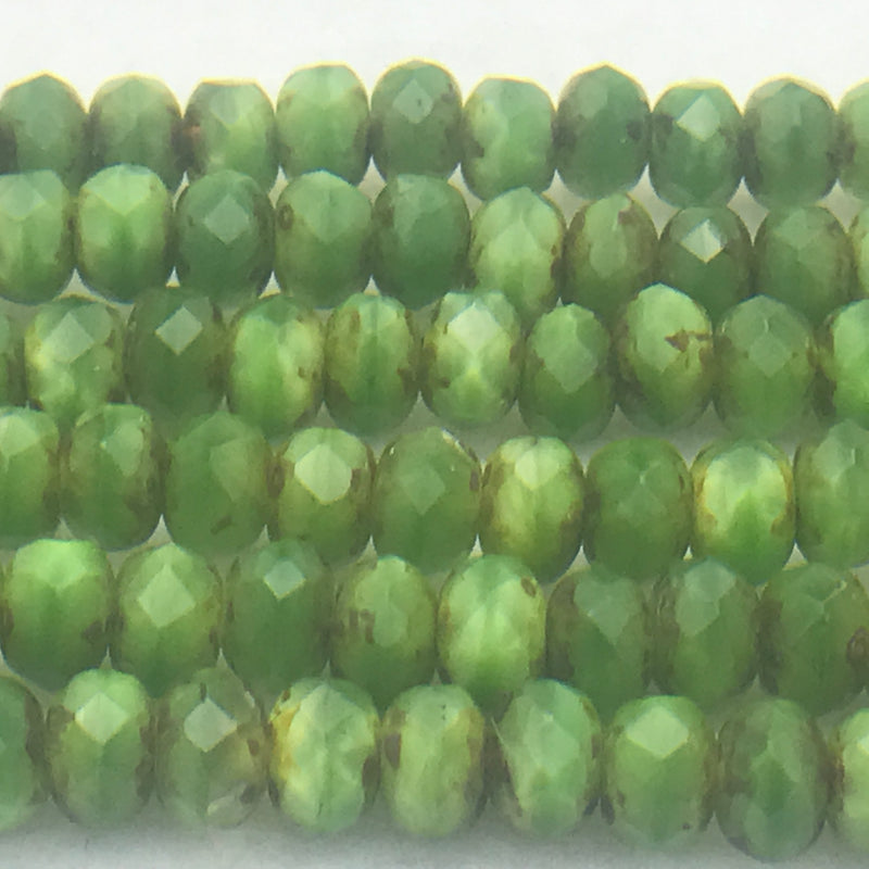 Rondelle Czech Glass Beads 4x5mm Shamrock Green