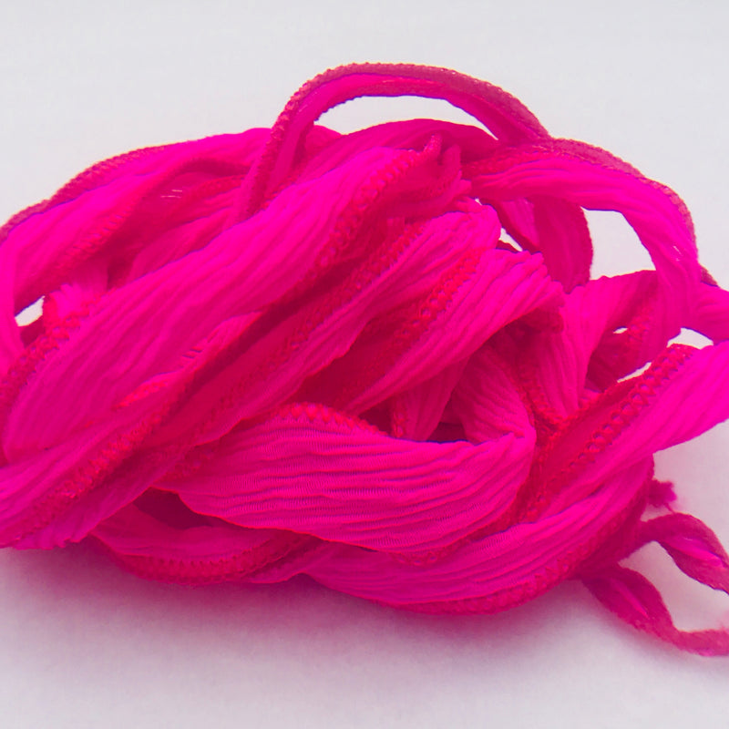 Hand Dyed Silk Ribbon, Hot Pink