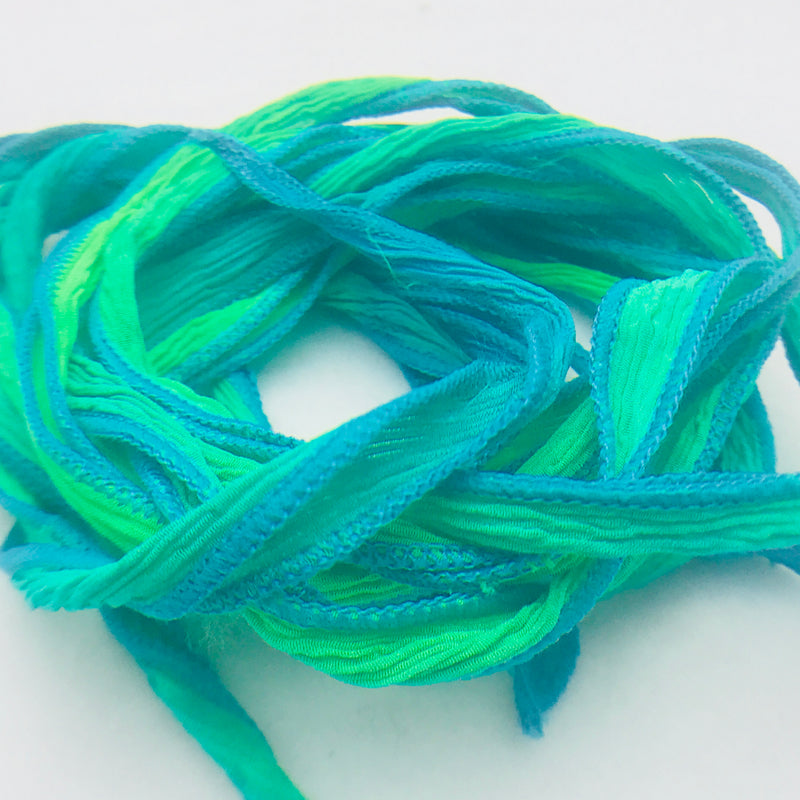 Hand Dyed Silk Ribbon,Blue Green