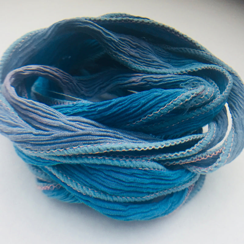 Hand Dyed Silk Ribbon, Blue Grey