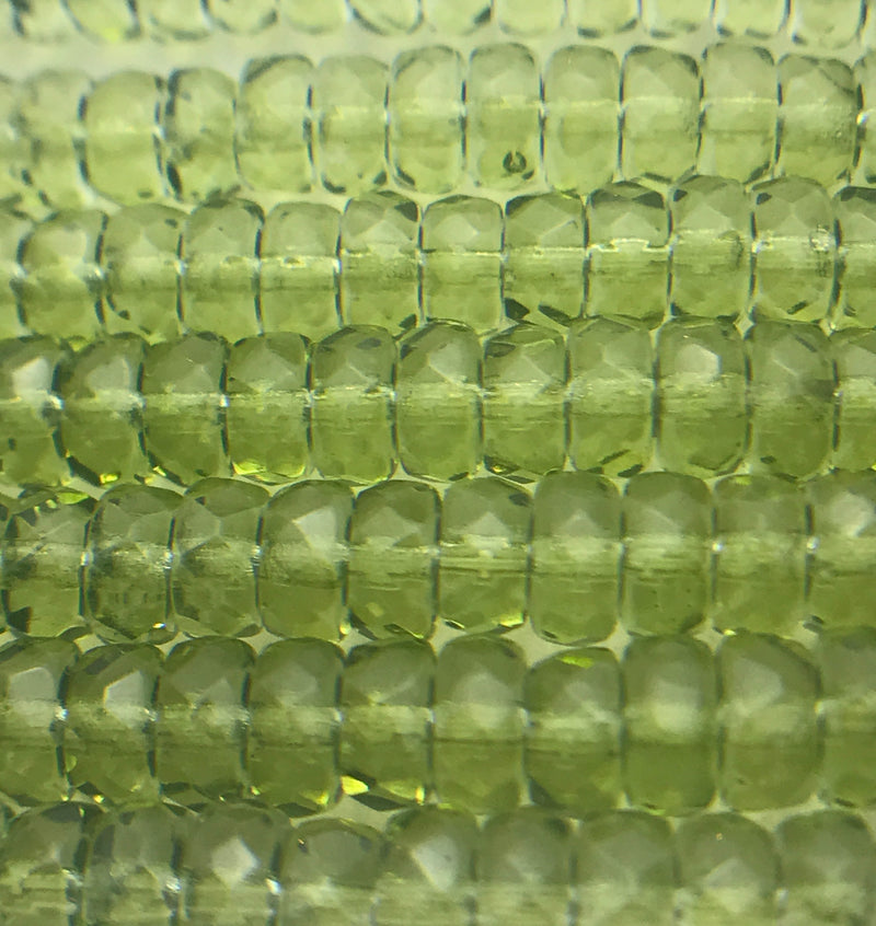Faceted Rondelle Czech Glass Beads 4x8 mm Evergreen