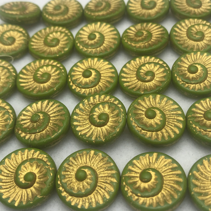 Nautilus Coin Czech Beads, 18mm, Olive Gold