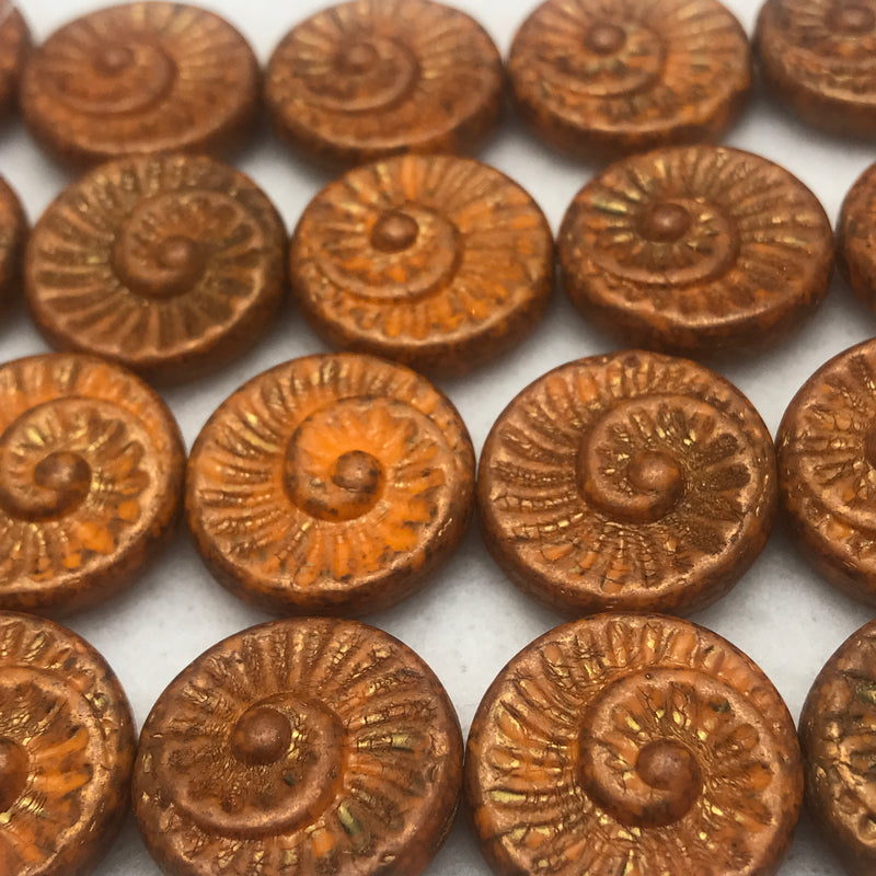 Nautilus Coin Czech Beads, 18mm, Burnt Orange