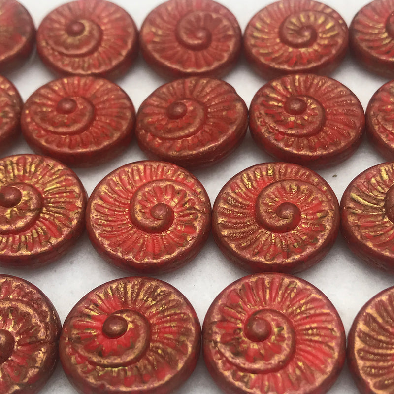 Nautilus Coin Czech Beads, 18mm, Red Gold