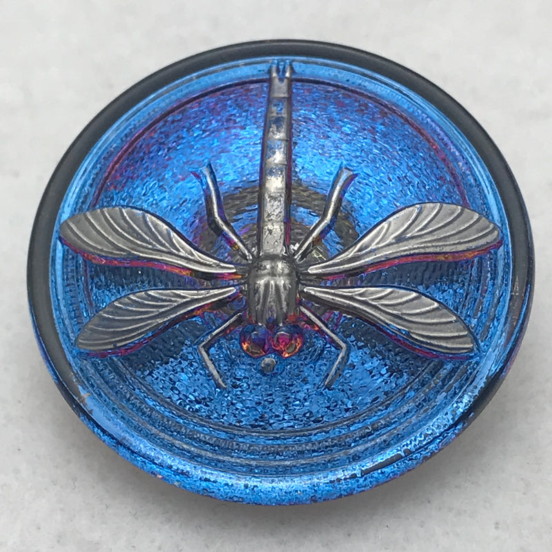 Dragonfly Czech Button 30mm Metallic Blue