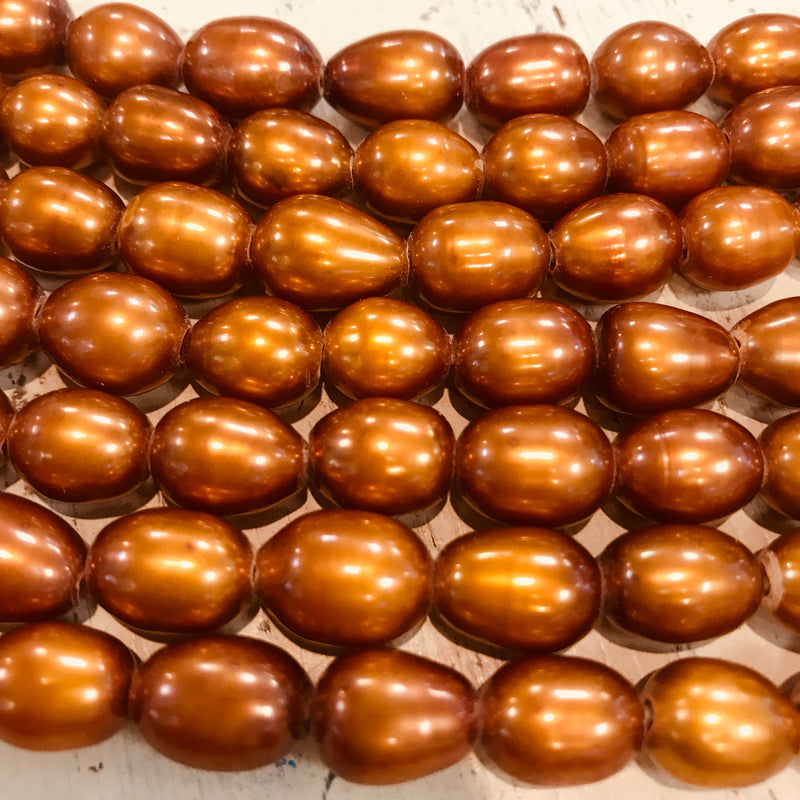 Large Hole Copper Rice Cultured Pearls, 12mm
