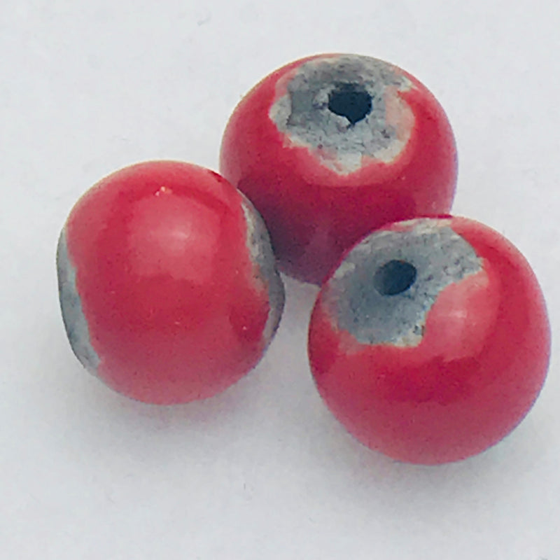 Round Ceramic Bead by Keith OConnor, 12mm Red