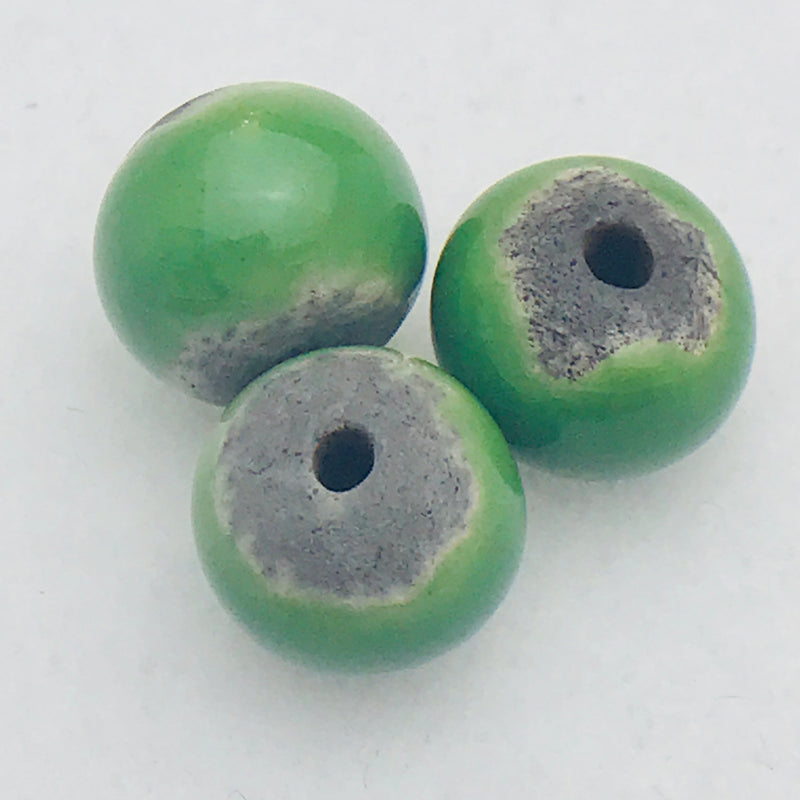 Round Ceramic Bead by Keith OConnor, 12mm Celtic Green