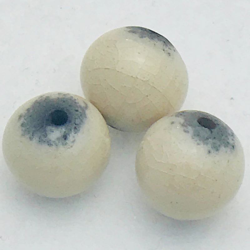 Round Ceramic Bead by Keith OConnor, 12mm Sand