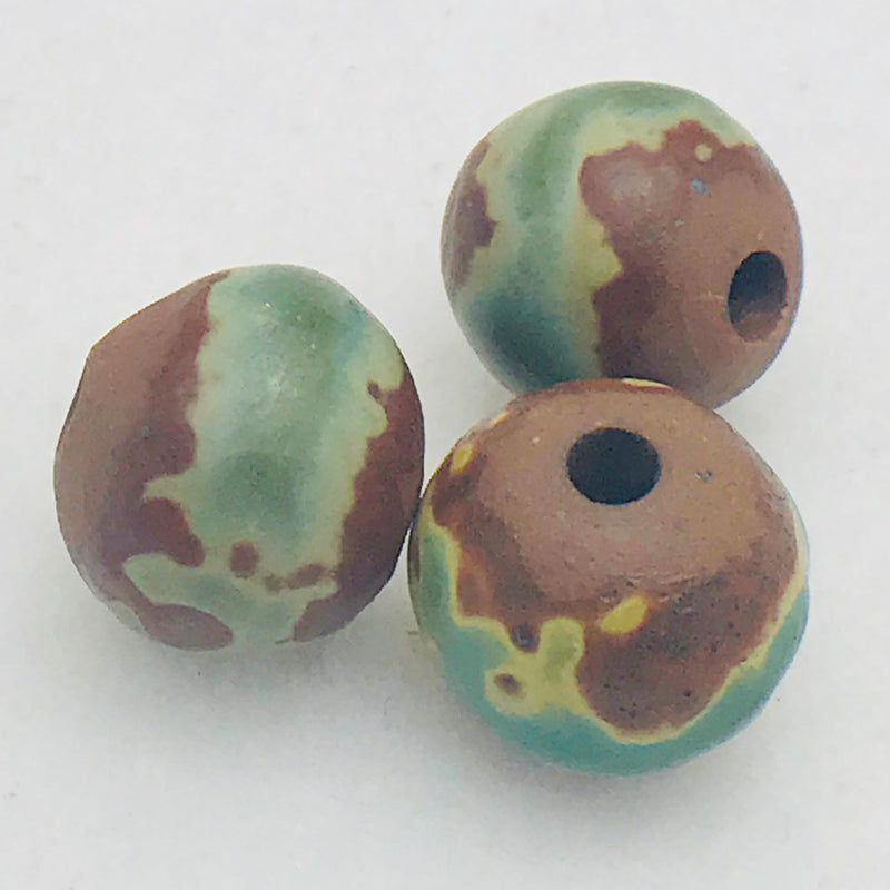 Ceramic Raku Round Bead by Keith OConnor, 11mm