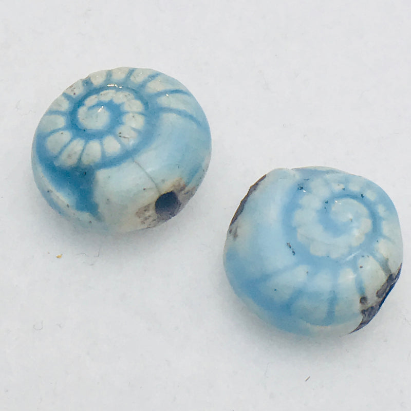 Nautilus Ceramic Bead, 14mm, Blue Sky