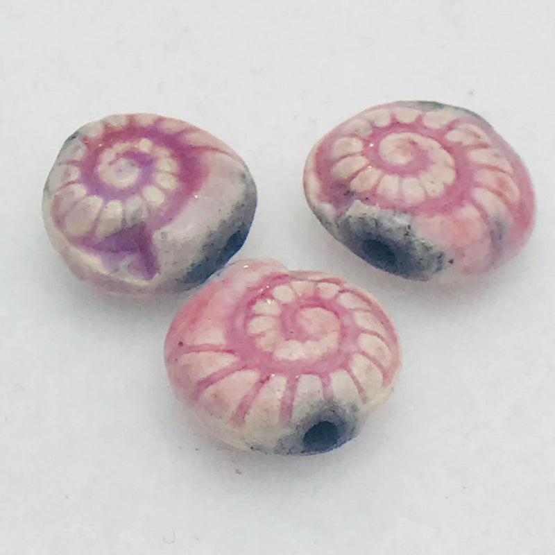 Nautilus Ceramic Bead by Keith OConnor, 14mm Pale Pink