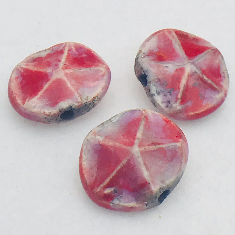Starfish Ceramic Bead by Keith OConnor, 16mm Rouge