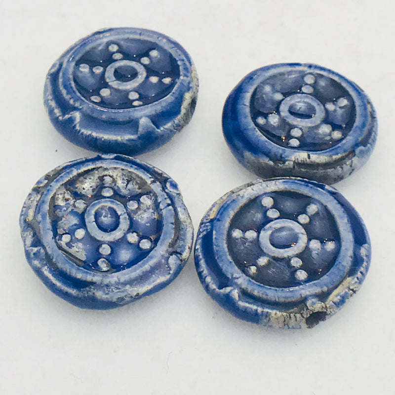 Pilot Wheel Ceramic Bead by Keith OConnor, 16mm Naval Blue