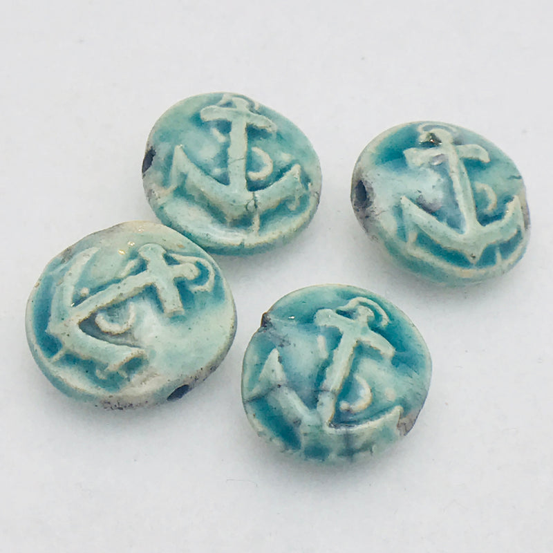 Anchor Ceramic Bead by Keith OConnor, 18mm Sea Green