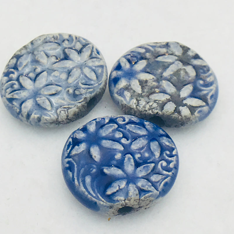 Floral Ceramic Bead by Keith OConnor, 17mm Blue