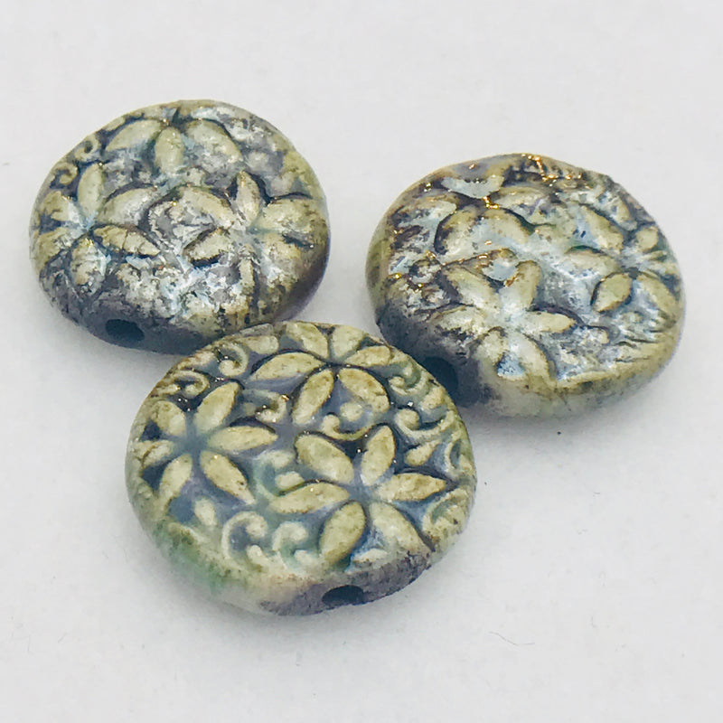 Floral Ceramic Bead by Keith OConnor, 17mm Olive Green