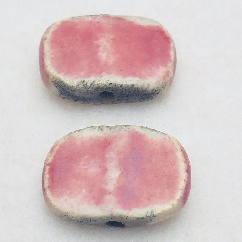 Chicklet Ceramic Bead by Keith OConnor, 30X19mm, Pink
