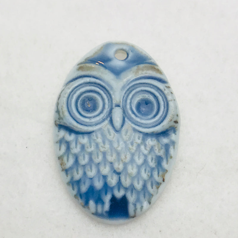 Owl Charm by Keith OConnor, Blue, 27x18mm