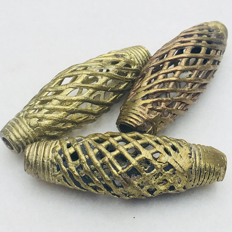Thatched Tube Ghana Brass Bead 50mm