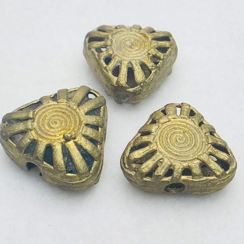Triangle Ghana Brass Bead 22mm