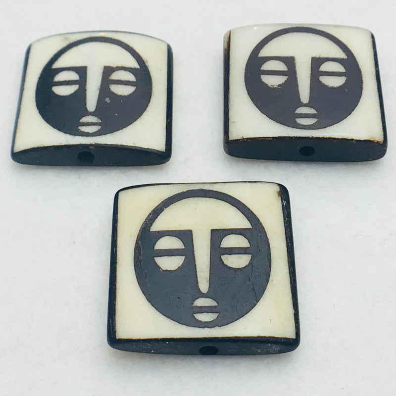 African Mask Beads, Bone, 25x25mm