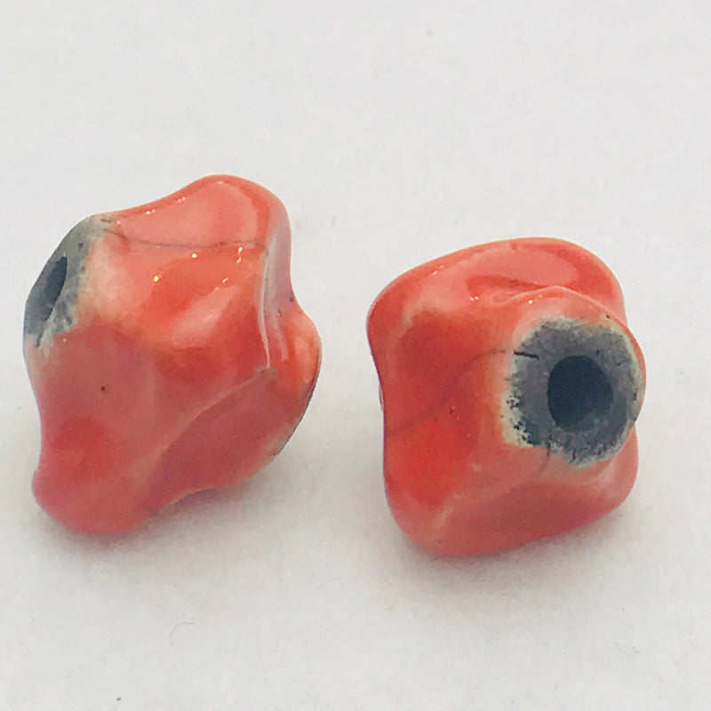 Ceramic Pinched Bicone Bead by Keith OConnor, Red, 14mm