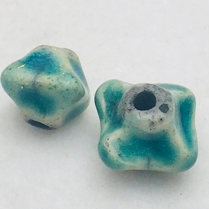 Ceramic Pinched Bicone Bead by Keith OConnor, Teal, 14mm
