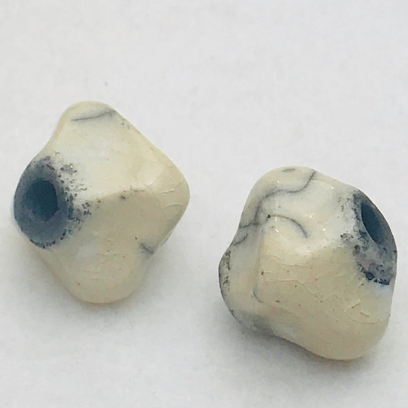 Ceramic Pinched Bicone Bead by Keith OConnor, White, 14mm
