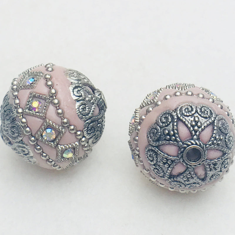 Slipper Pink Mongolia Bead 26mm