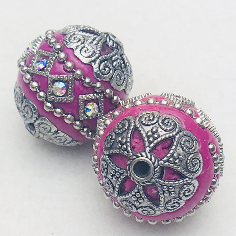 Fuschia Mongolia Bead 26mm