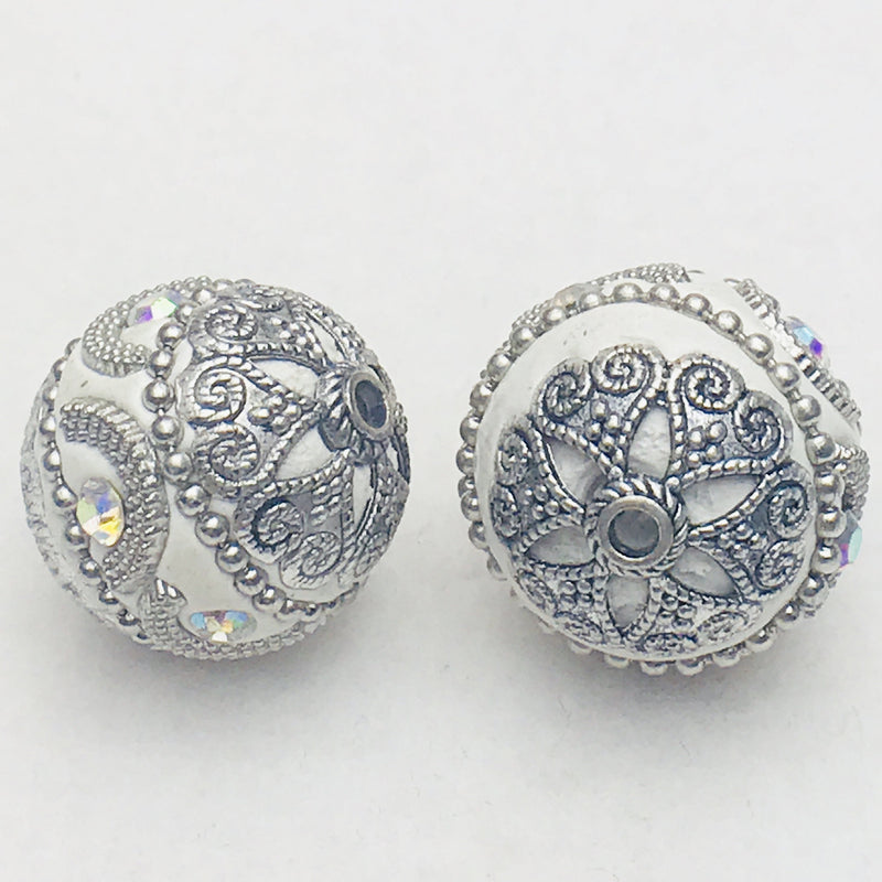 White Mongolia Bead 26mm