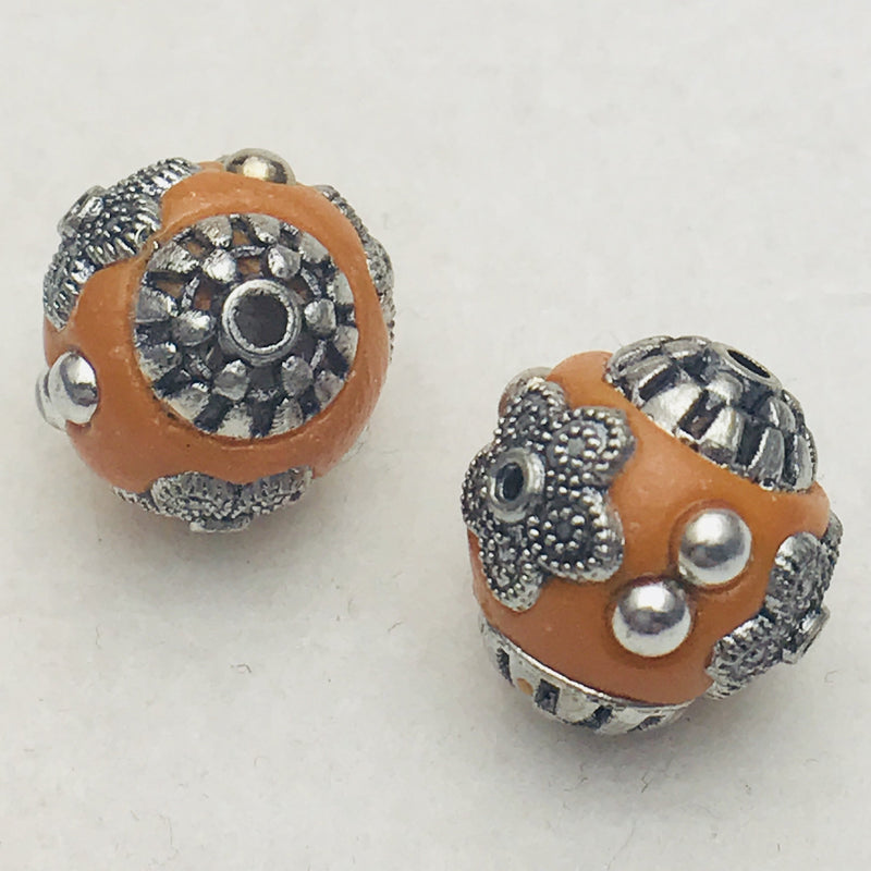 Orange Mongolia Bead 14mm