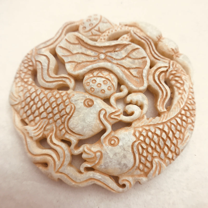 Carved Fish Stone Pendant, Brown/Beige 66x66mm