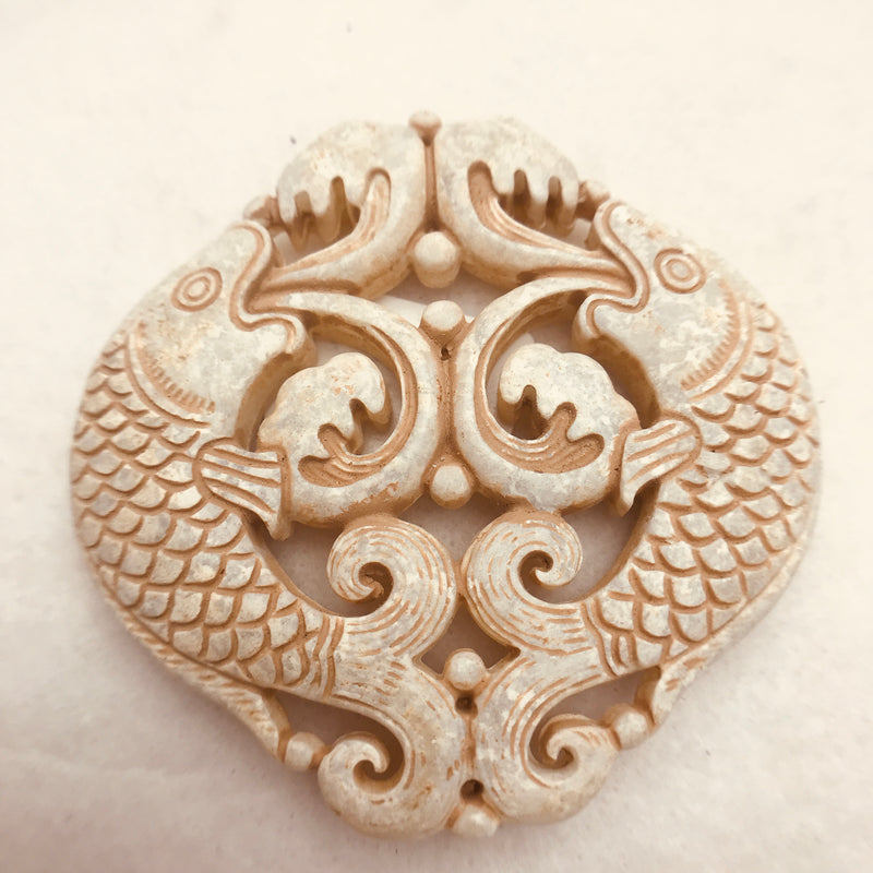 Carved Stone Pendant, Brown/Beige 66x66mm, Diving Fish Motif.